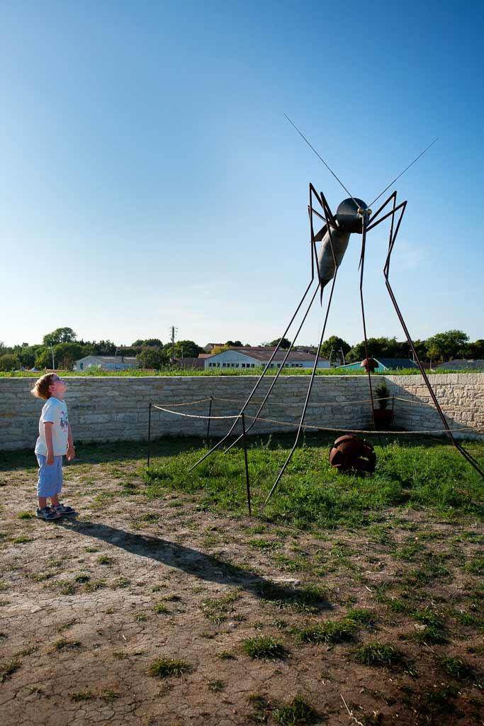 Enfant devant une sculpture de moustique