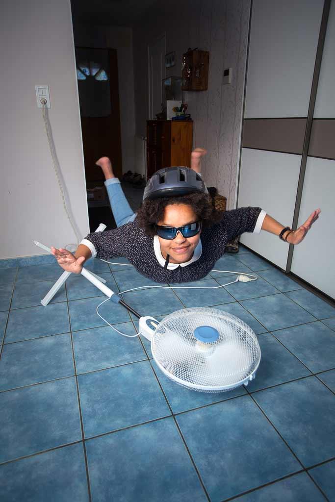 Vole au dessus d'un ventilateur surpuissant