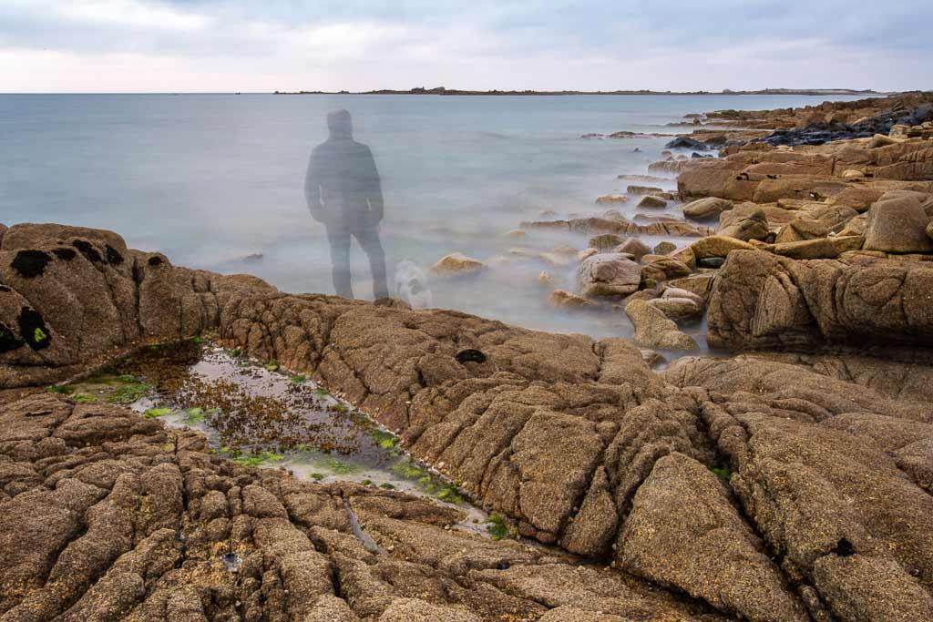Autoportrait bord de mer en pose longue