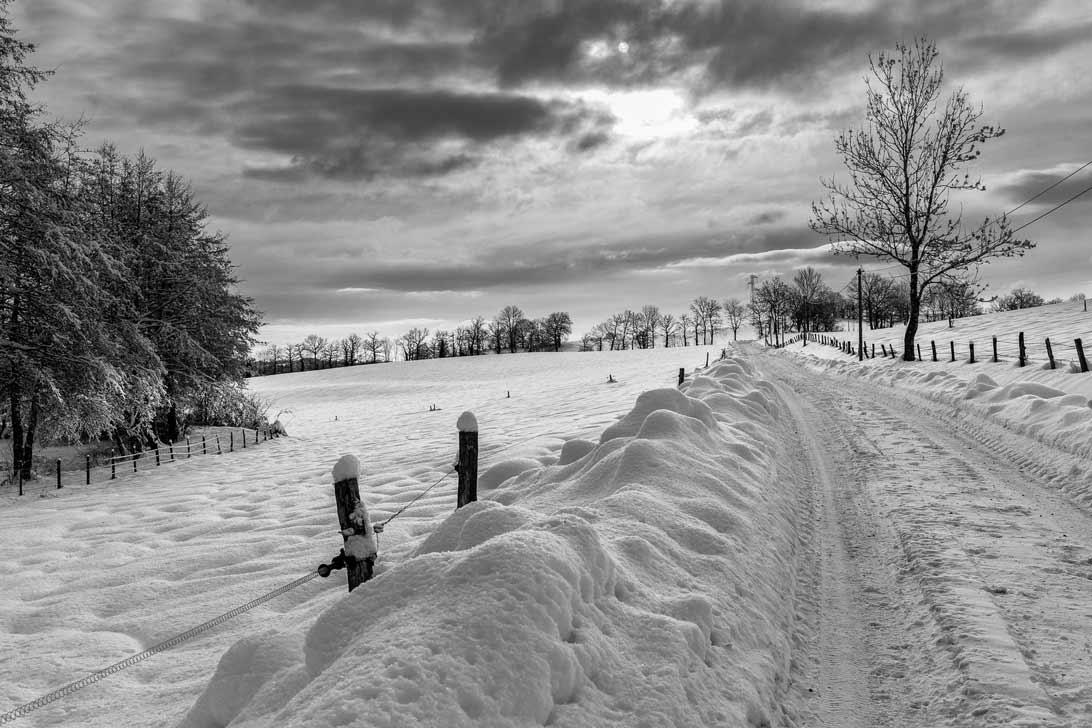 Paysage Cantal sous la neige